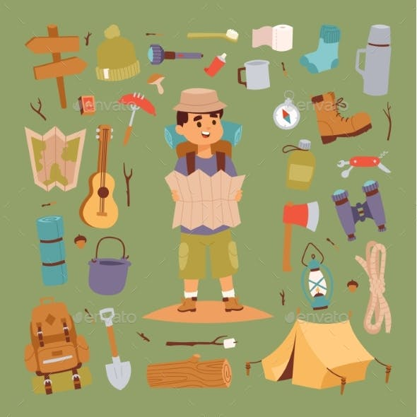 Camping Stickers in Hand Drawn Style Vector
