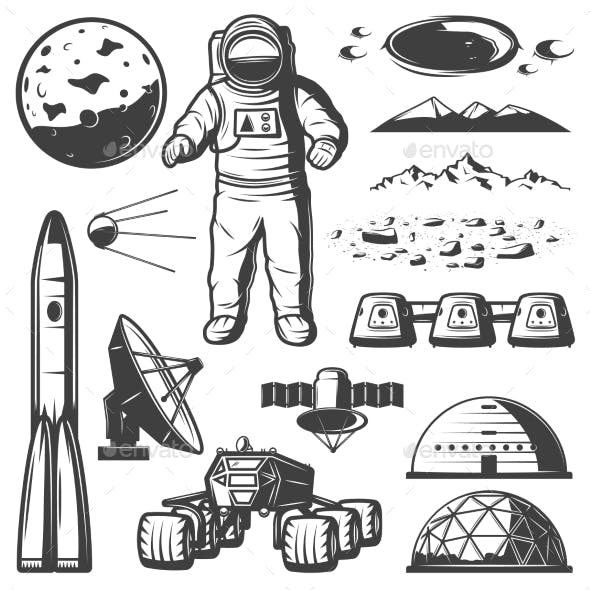 Vintage Mars Space Elements Collection
