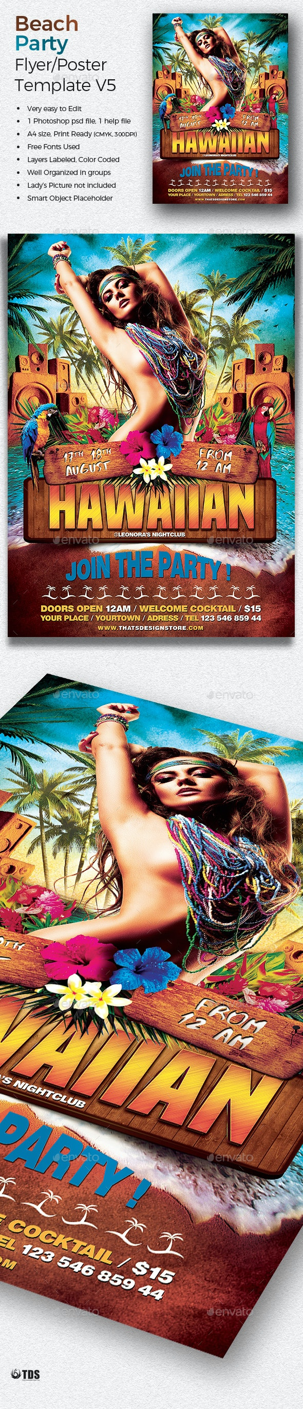 Beach Party Flyer Template V5 - Clubs & Parties Events