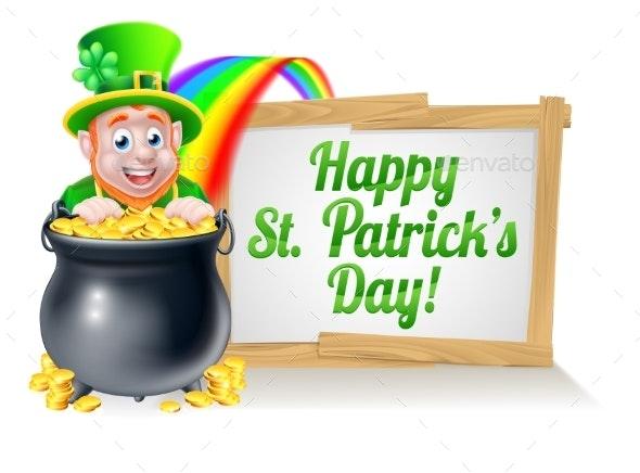 Happy St Patricks Day Leprechaun Sign - Miscellaneous Seasons/Holidays