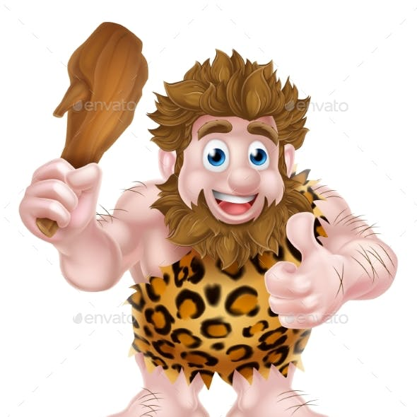 Cartoon Caveman Giving Thumbs Up