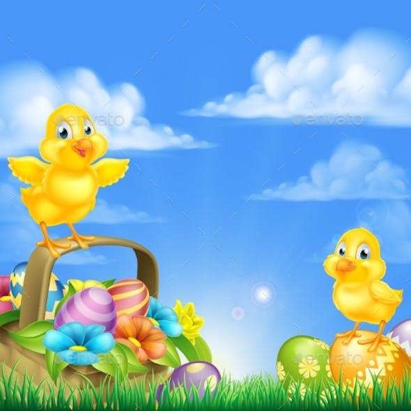 Chicks and Easter Eggs Basket Scene