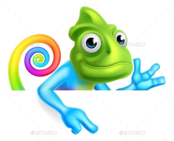 Rainbow Cartoon Chameleon Pointing - Animals Characters