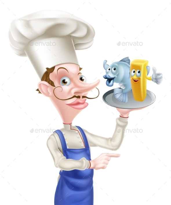Cartoon Fish and Chips Chef Pointing - Food Objects