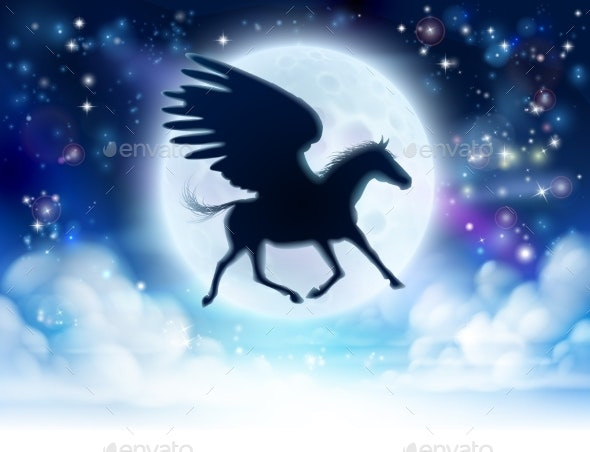 Pegasus Flying Moon Silhouette - Animals Characters