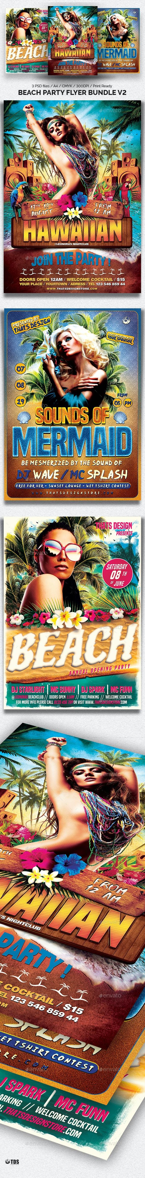 Beach Party Flyer Bundle V2 - Clubs & Parties Events