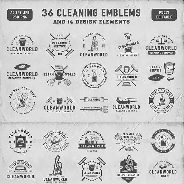 36 Vintage Cleaning Emblems