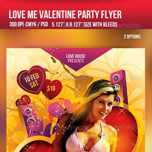 Love me Valentine Day Party Flyer