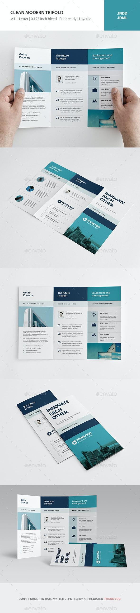 Clean Modern Trifold - Brochures Print Templates