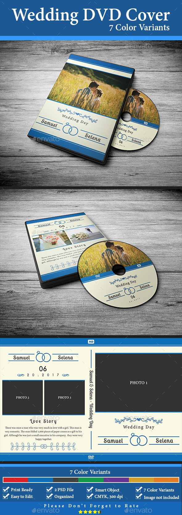 Wedding DVD Cover - 7 Color Variants - CD & DVD Artwork Print Templates