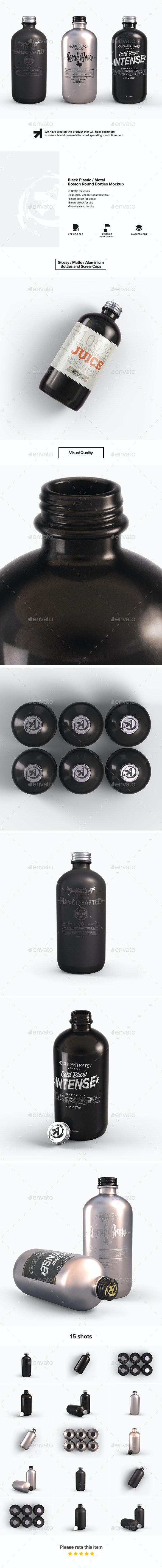 Plastic Metal Boston Round Bottles Mockup - Food and Drink Packaging