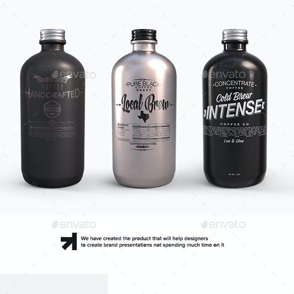 Plastic Metal Boston Round Bottles Mockup