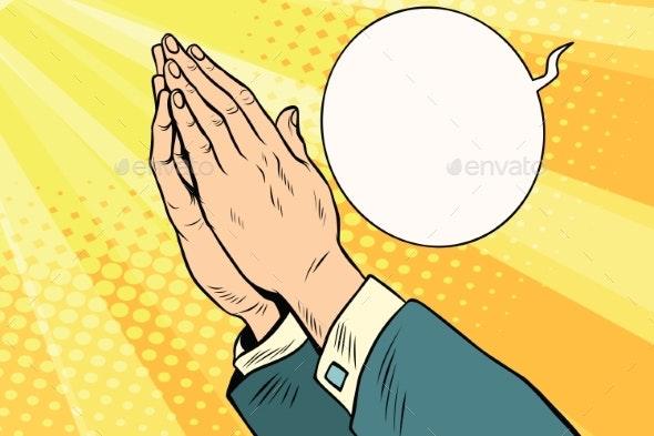 Men Hands in Prayer - Religion Conceptual