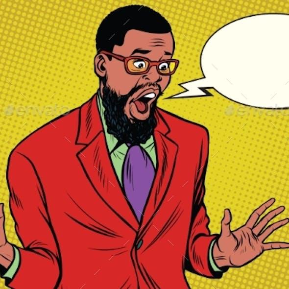 Shocked Hipster Bearded Man