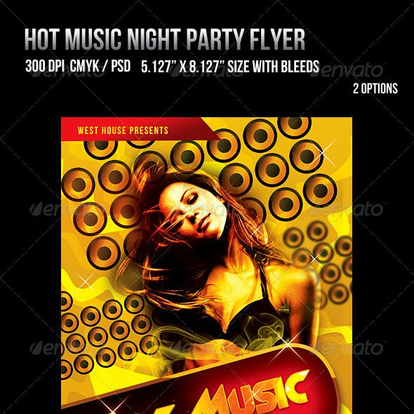 Hot Music Night Party Flyer