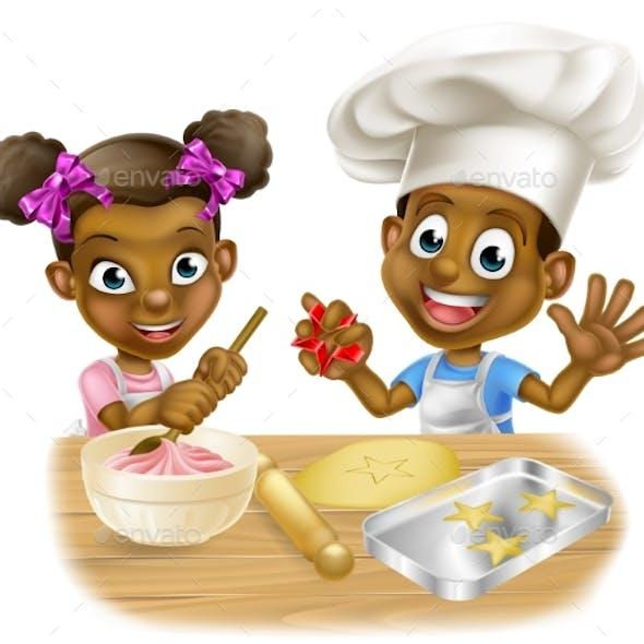 Cartoon Children Bakers