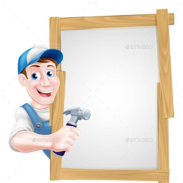 Cartoon Carpenter Sign