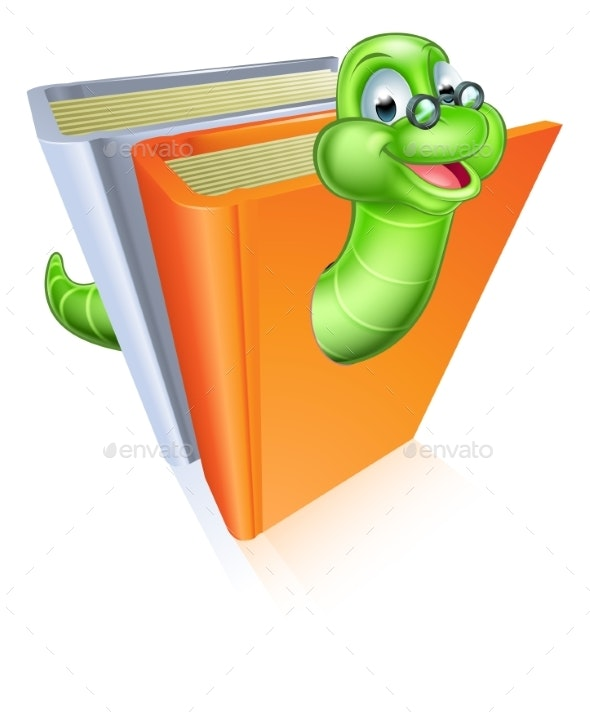 Bookworm Cartoon - Miscellaneous Vectors