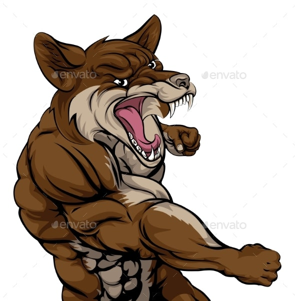 Punching Coyote Mascot - Animals Characters