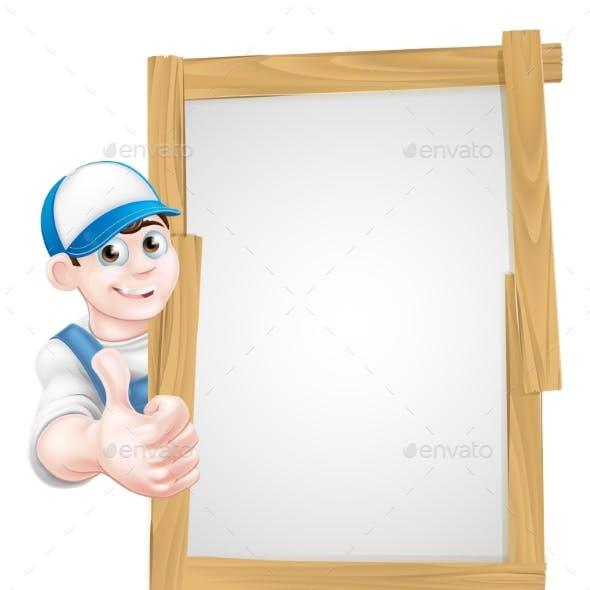 Cartoon Thumbs Up Worker