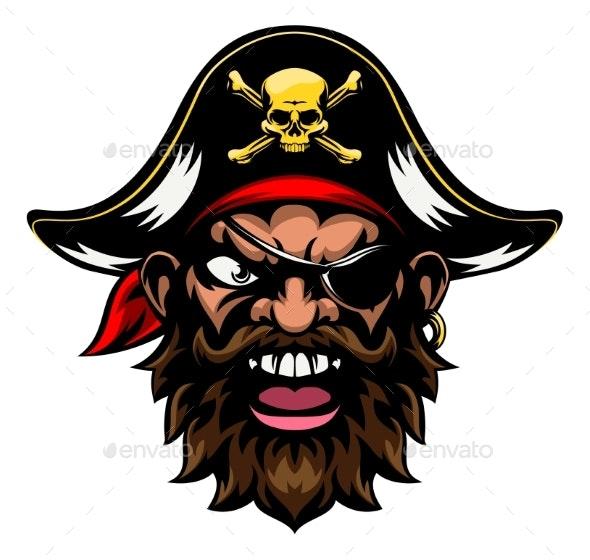 Cartoon Pirate Sports Mascot - People Characters