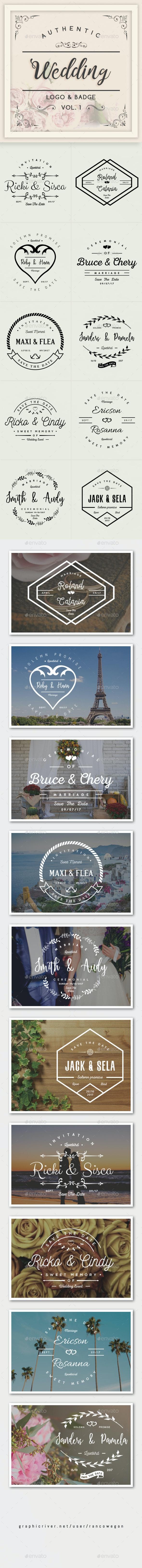 Authentic Wedding Logo & Badge - Badges & Stickers Web Elements