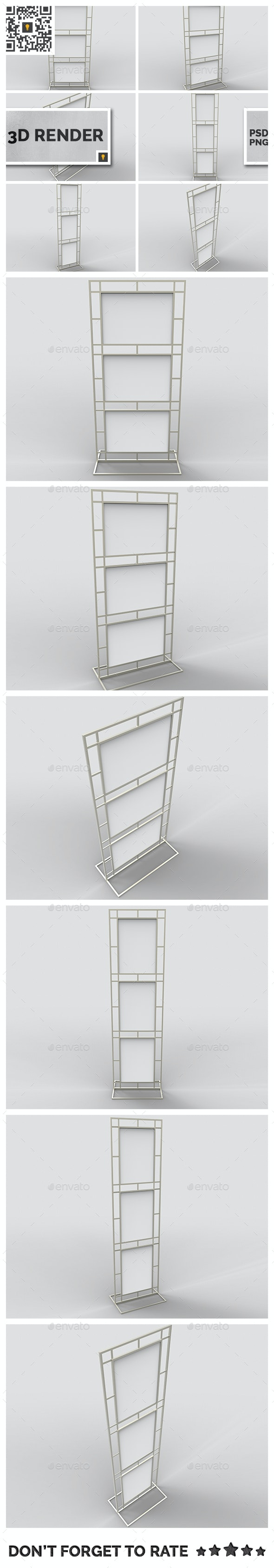 Poster Stand Display 3D Render - 3D Renders Graphics