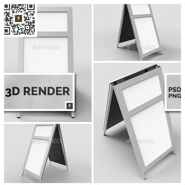 Sidewalk Poster Sign 3D Render