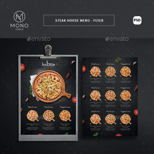 Rustic Pizza Menu - Flyer