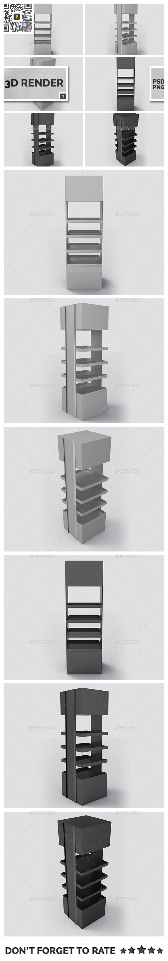 Promotional Store Shelf Stand 3D Render - Objects 3D Renders