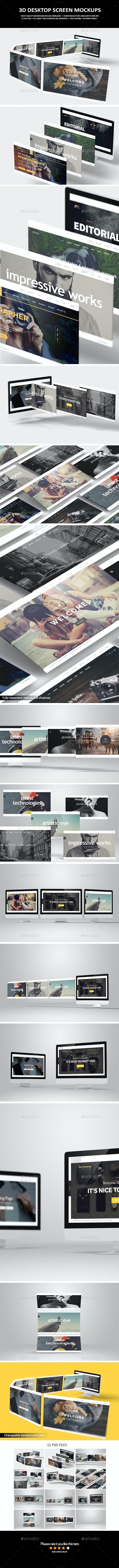 3D Desktop Screen Mock-Up - Product Mock-Ups Graphics