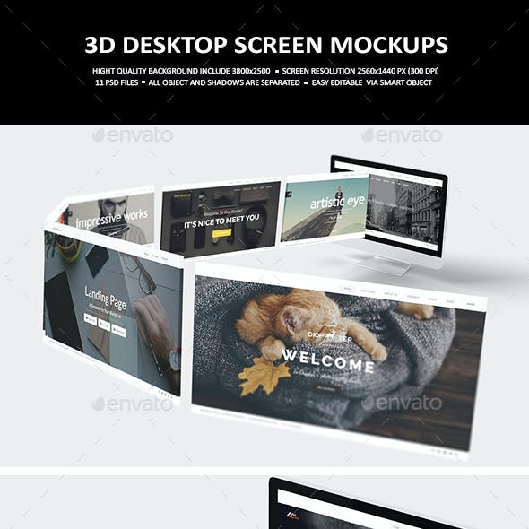 3D Desktop Screen Mock-Up