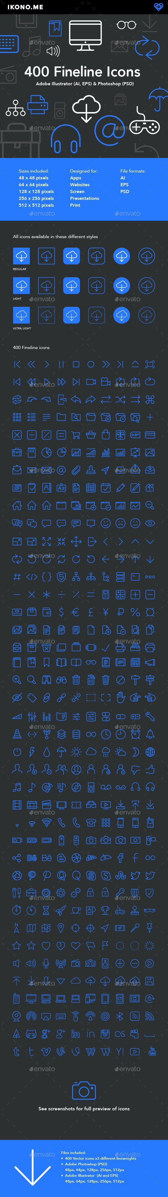 400 Fine Line Icons - Software Icons
