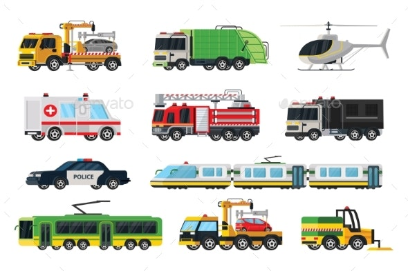 Municipal Transport Set - Man-made Objects Objects