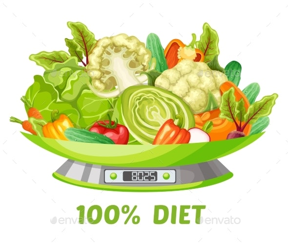Light Vegetable Diet Concept - Food Objects