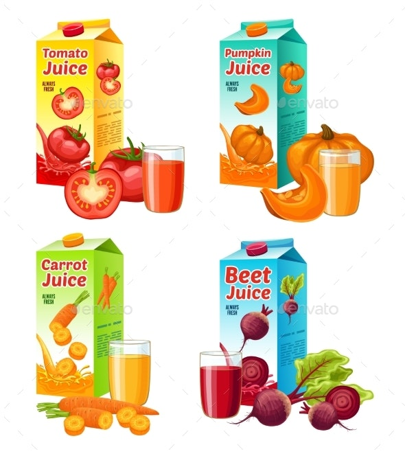 Bright Fresh Vegetable Juices Set - Food Objects