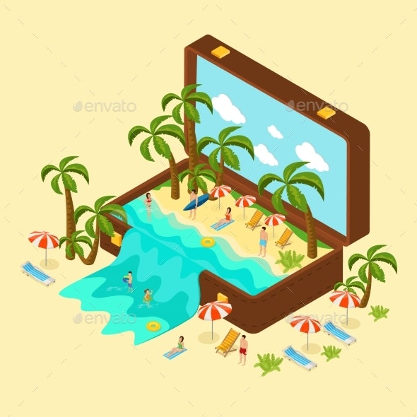 Isometric Beach Vacation Concept - People Characters