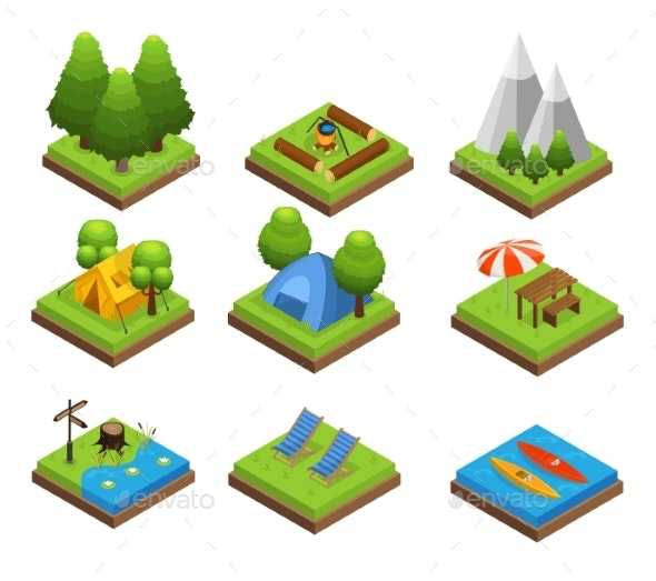 Isometric Traveling Camping Collection - Objects Vectors