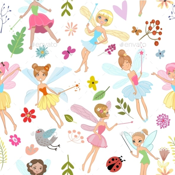 Seamless Pattern with Cartoon Fairies - Backgrounds Decorative