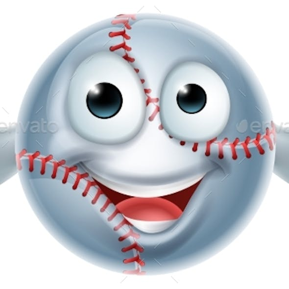 Cartoon Softball Man Character