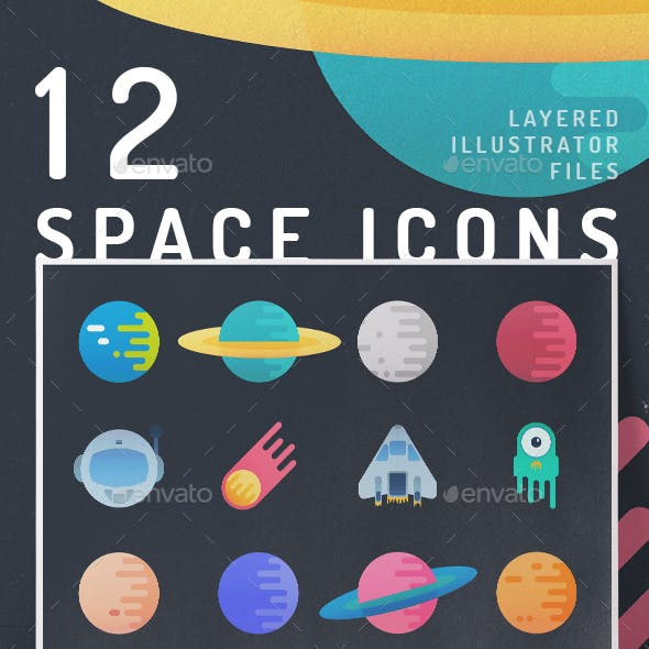 12 Vibrant Space Icons