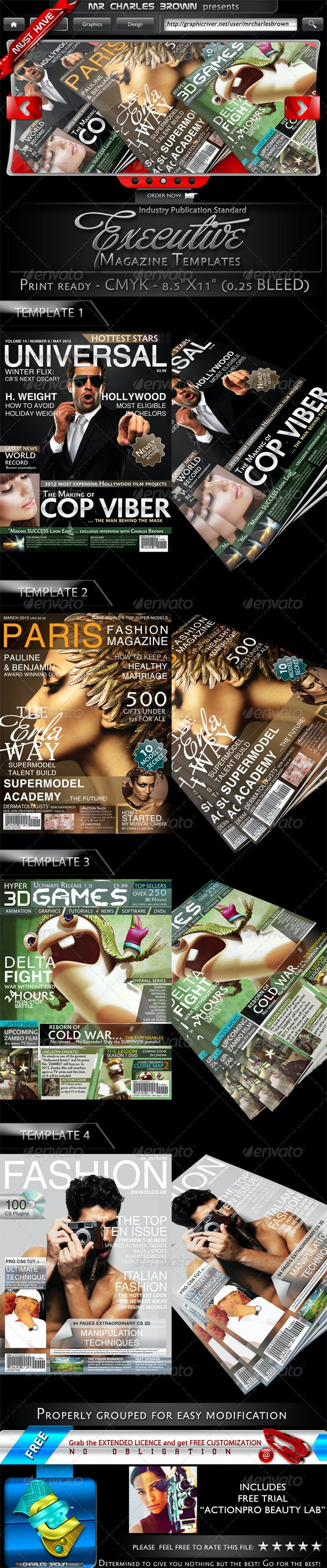 4 Executive Magazine Templates - Magazines Print Templates