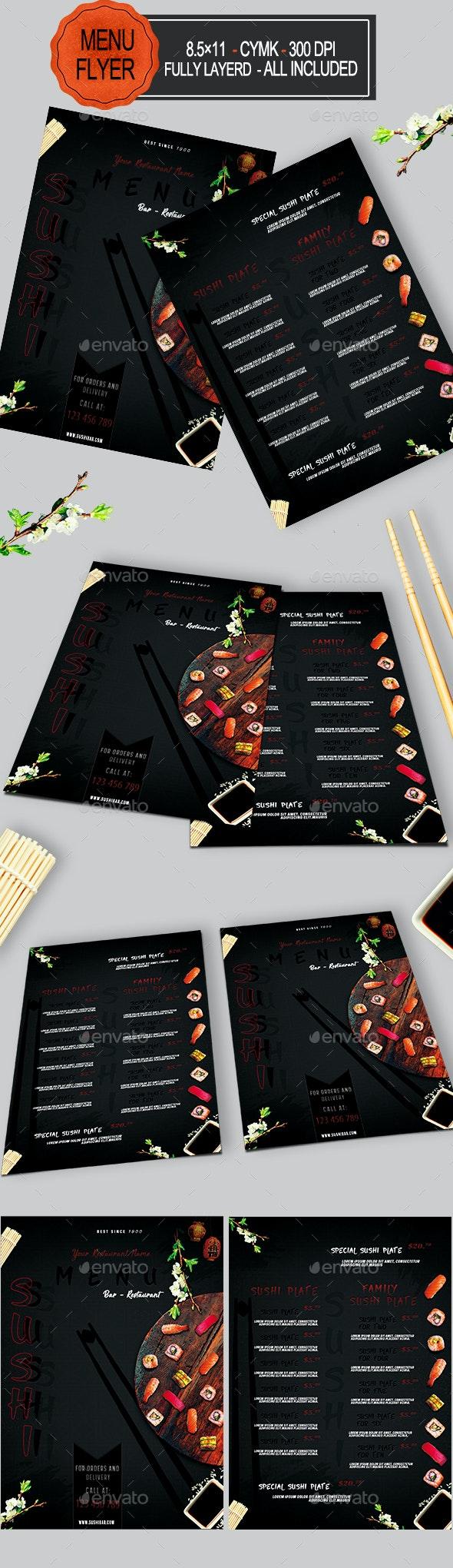 Sushi Menu - Food Menus Print Templates
