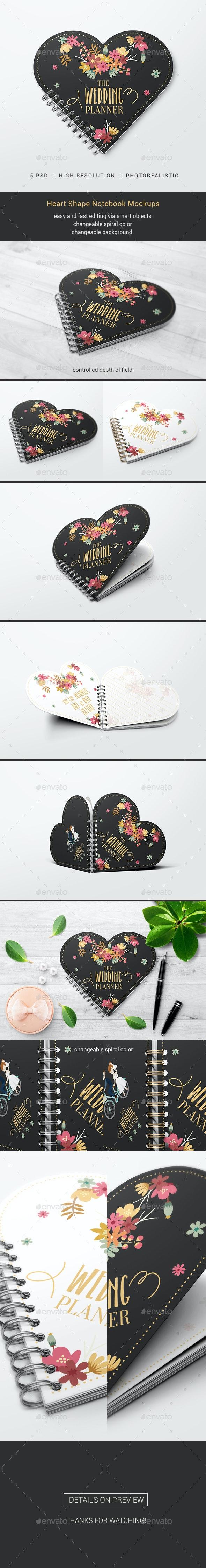 Heart Shape Notebook Mockups - Miscellaneous Print