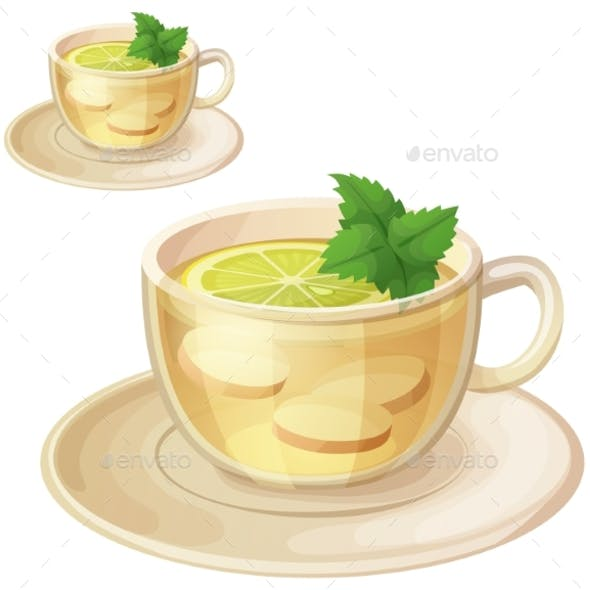 Herbal Tea with Ginger Root and Mint Illustration