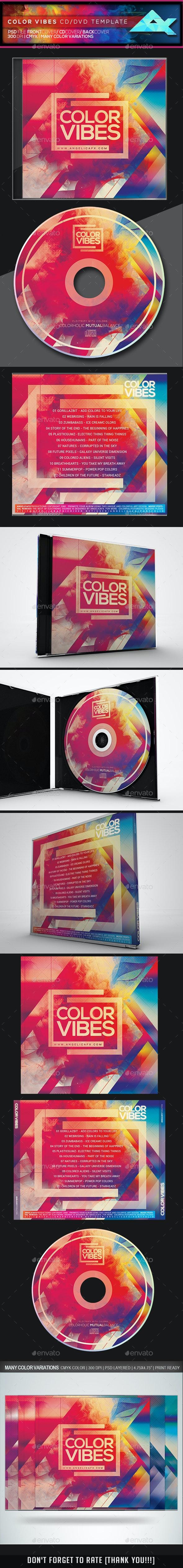 Color Vibes CD/DVD Template - CD & DVD Artwork Print Templates