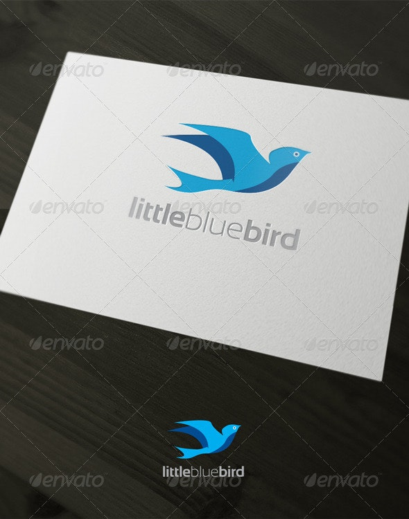 Little blue bird - Animals Logo Templates