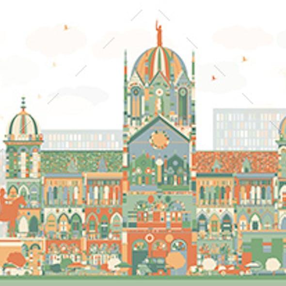 Abstract Mumbai Skyline with Color Landmarks