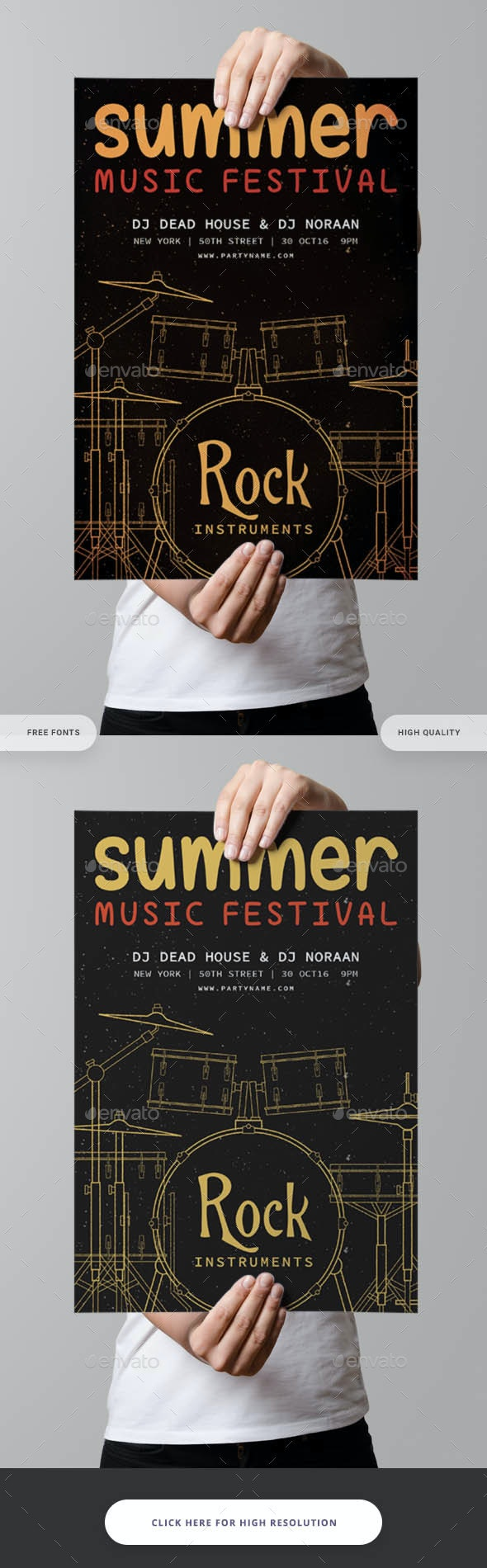 Summer Music Festival Flyer Template - Clubs & Parties Events