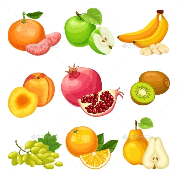 Cartoon Healthy Fruits Set - Food Objects